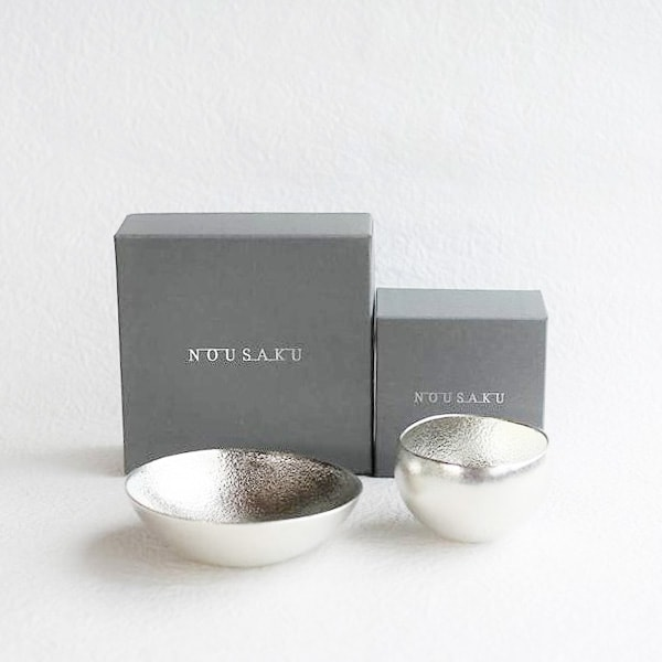 [Set] 1 Kuzushi-Yure Silver + 1 Kuzushi-Tare Silver/ Sake cup / Nousaku