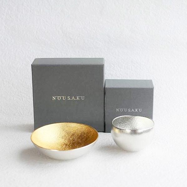 [Set] Kuzushi-Yure Silver + Kuzushi-Tare Gold / Sake cup / Nousaku