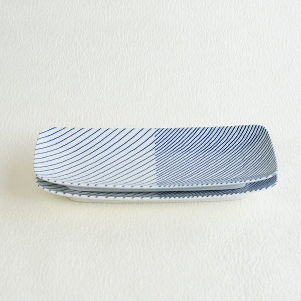 重ね縞 長焼皿ロング2枚セット/白山陶器