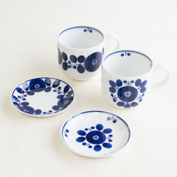 [Set] Pair of Mug & Plate SS / Bloom series / Wreath & Bouquet / Hakusan Toki