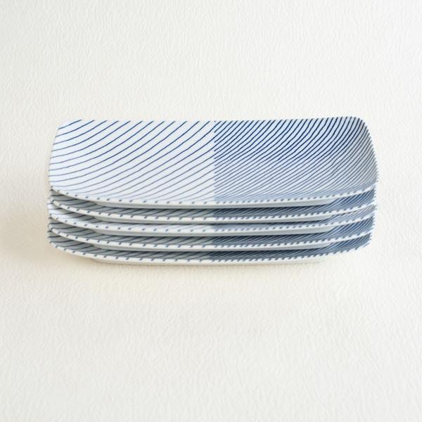 【セット】重ね縞 長焼皿ロング 5枚/白山陶器
