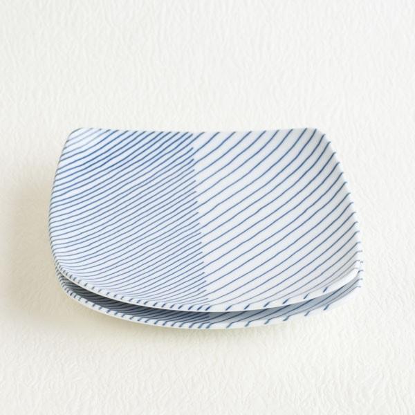 【セット】重ね縞 反角多用皿M 2枚/白山陶器
