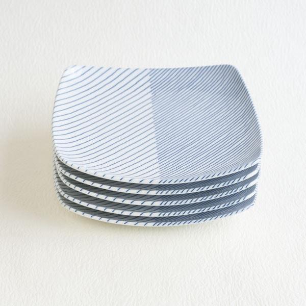 【セット】重ね縞 反角中皿S 5枚/白山陶器