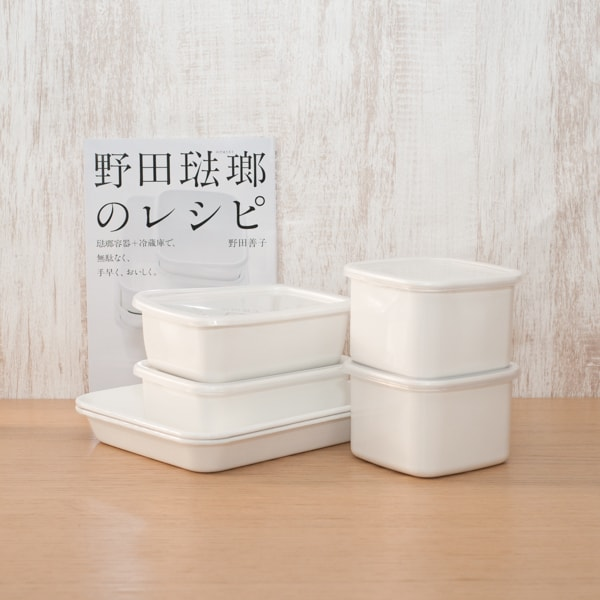 [Standard set of 6 with Official recipe book] Enamel baking pan 21 tori×2 / Rectangle Deep M×2 / Square M×2 / Noda Horo
