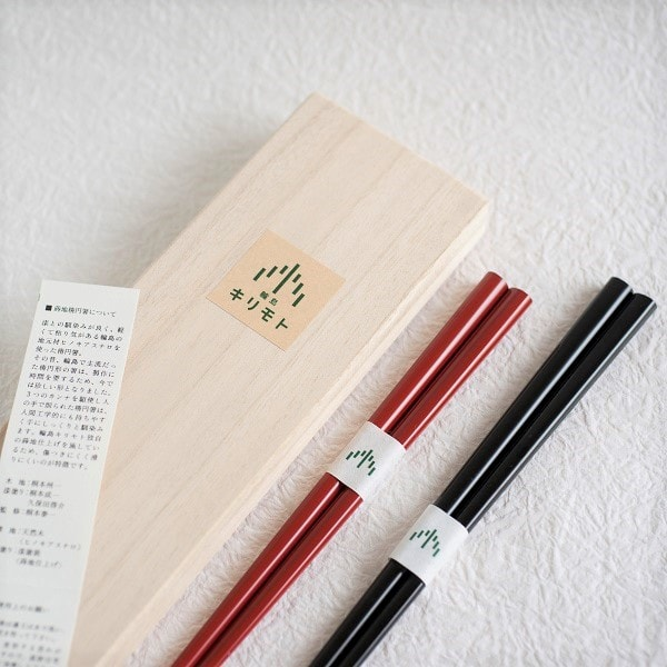 [Set] [Paulownia box] Pair of oval lacquered chopsticks / Uwanuri / Black & Red / Wajima Kirimoto