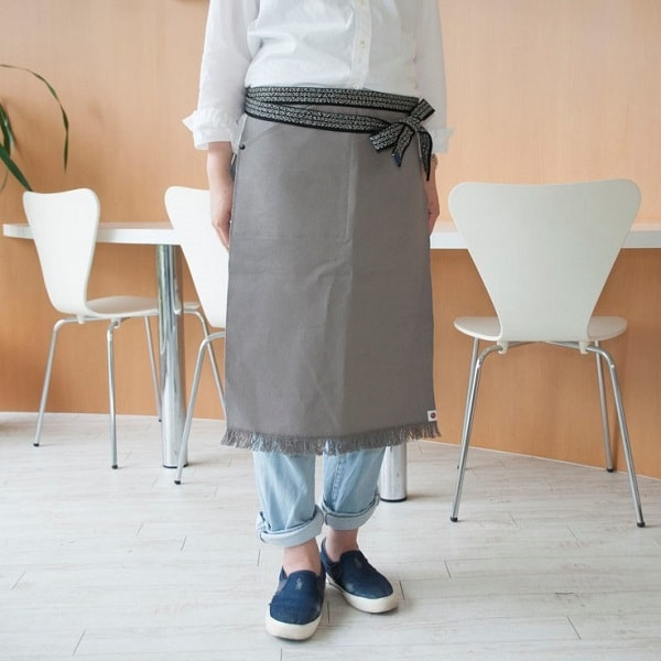 Maekake / Japanese waist apron / Gray / Long / Anything