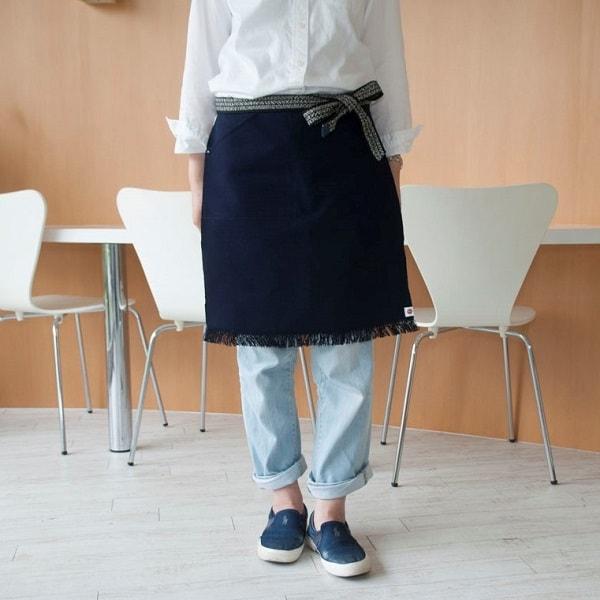 特注オリジナル帆前掛けエプロン 紺(ネイビー) ショート/エニシング