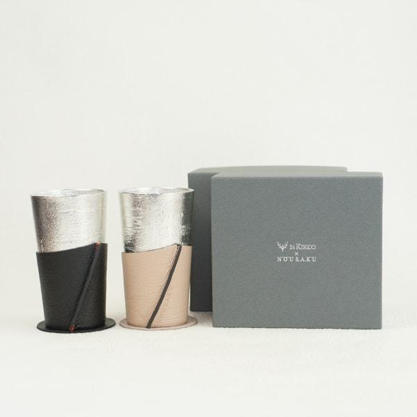 [Set] Pair Beer cup White birch pattern / Beige & Black / Nousaku