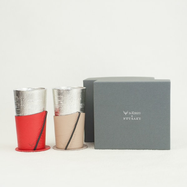 [Set] Pair Beer cup White birch pattern / Beige & Red / Nousaku