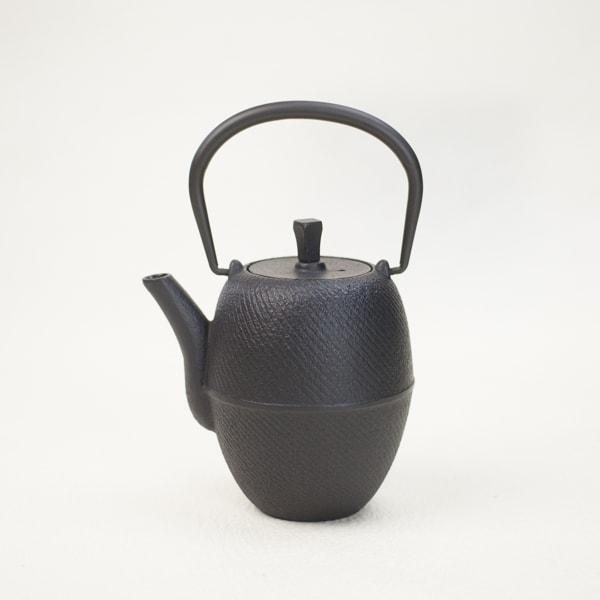 南部鉄器カラーティーポット 急須ブラック(筒形刷毛目)/Roji