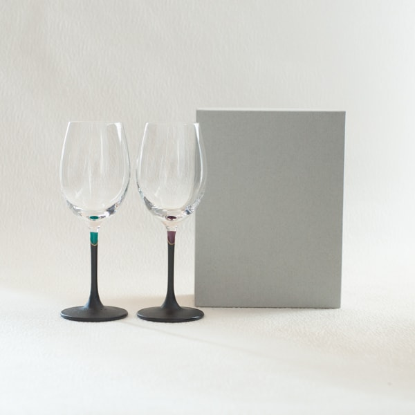 [Set] Pair lacquer colored wine glasses / Green & Purple / Toba Shitsugei
