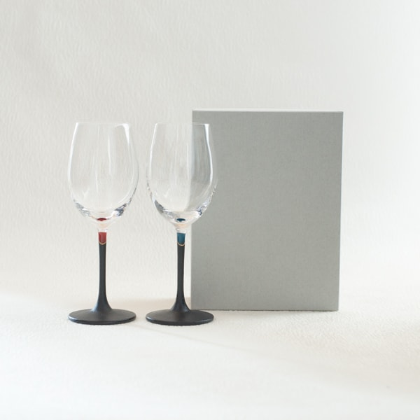 [Set] Pair lacquer colored wine glasses / Red & Blue / Toba Shitsugei