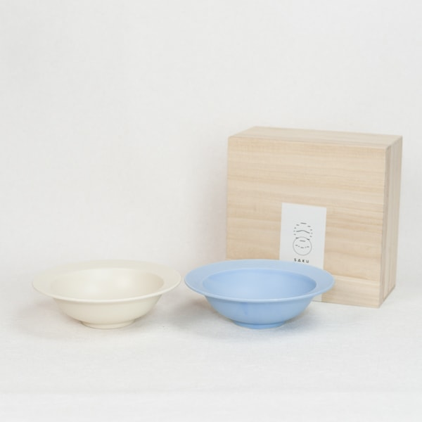 "[Set] DAYS / Sara 7"" Bowl / Pair bowl / Fujiiro & Cream / Wooden Box / SAKUZAN"