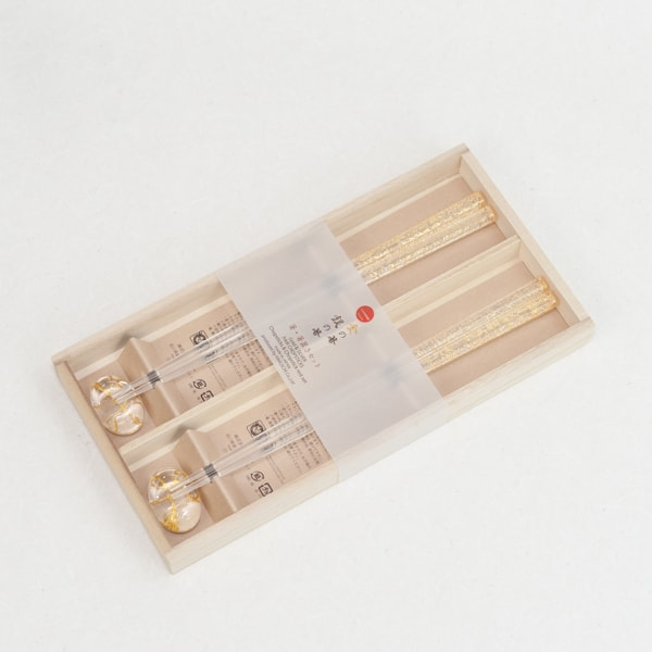 箸・箸置きセットペア クリア金糸(桐箱入り)/箔一