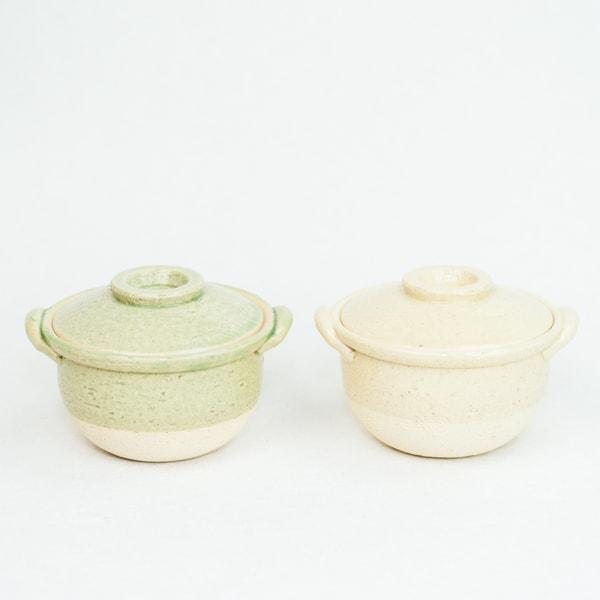 【セット】プチ土鍋 2点セット イエロー グリーン 伊賀焼/長谷園
