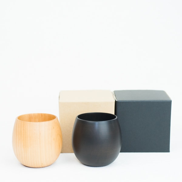 [Set] Wooden cup / SAKURA Egg / Plain & Black / Gato Mikio Store