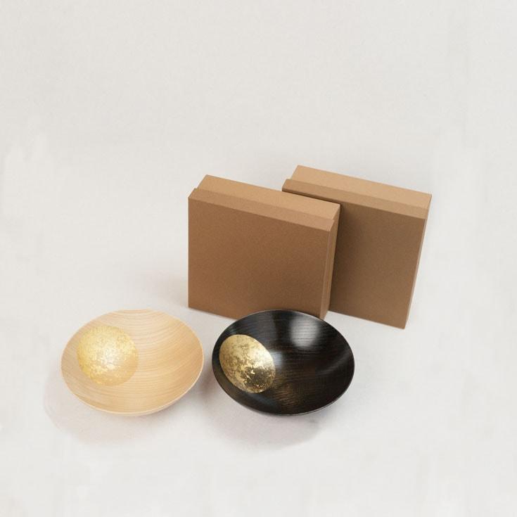 [Set] Pair of Oborozuki bowl / Night moon (Black) & Day moon (Natural) / 6 sun / Hakuichi