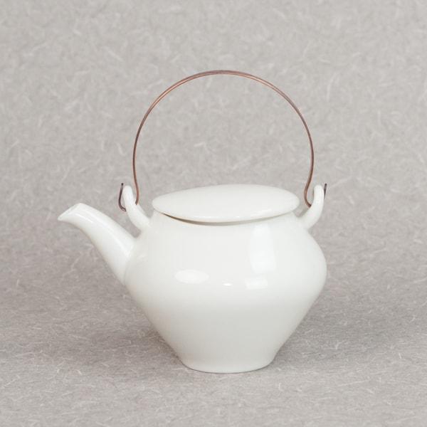 蒼爽 黄磁 土瓶(銅製ツル付) /ceramic japan