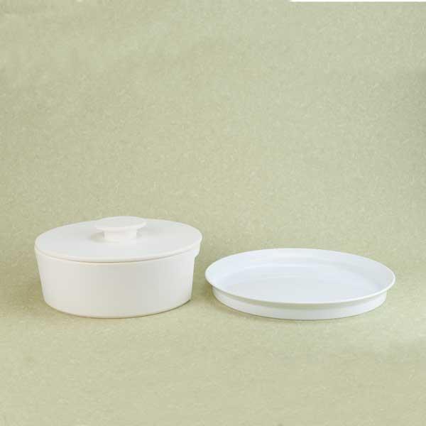 【セット】スタイリッシュ鍋パーティーセット(do-nabe L ホワイト/TYシリーズ Round Deep Plate 280 )
