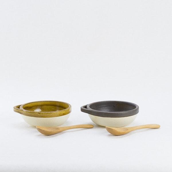 【セット】カセロラ オーブンとんすいペア 白/黄・白/茶/4TH-MARKET  & レンゲぶなペア/薗部産業