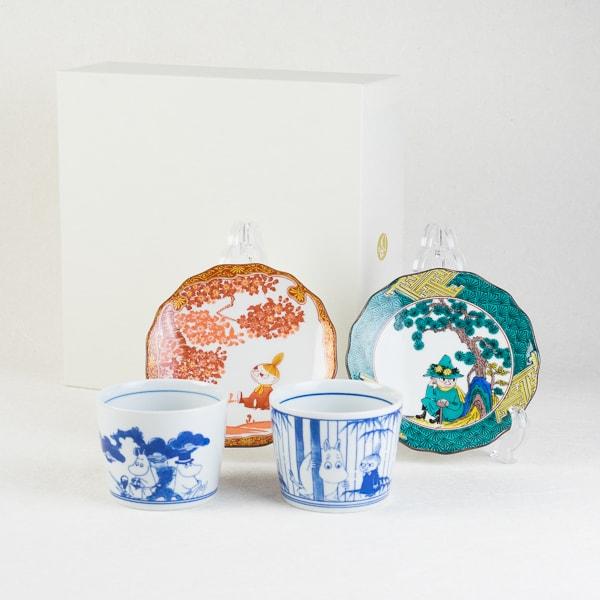 [Set] Kutani and Arita set / Snufkin & Little My / Moomin series / Soba choko cup and plate / amabro