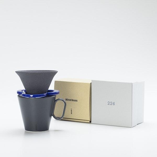 【セット】コーヒー道具 Caffe hat navy &生涯を添い遂げるマグ ラージブラックマット 有田焼 セット