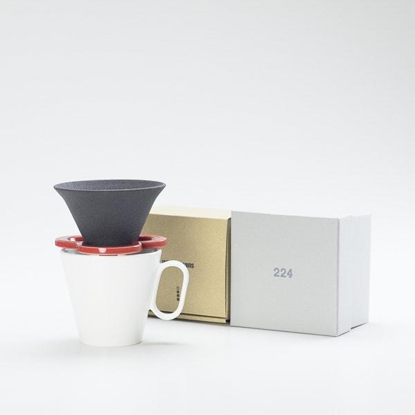 [Set] Caffe hat (Red) / Mug (Large White / Mat series)