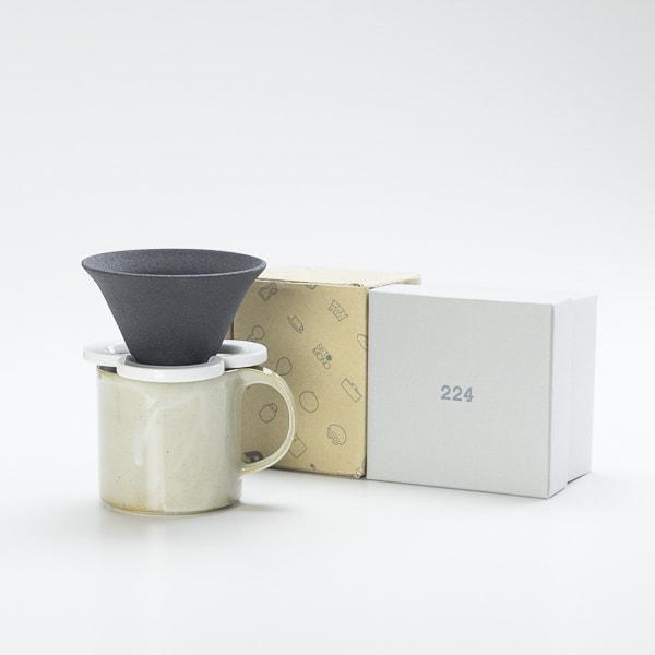 【セット】コーヒー道具 Caffe hat white &マグカップ/モデラート マグ グレー セット