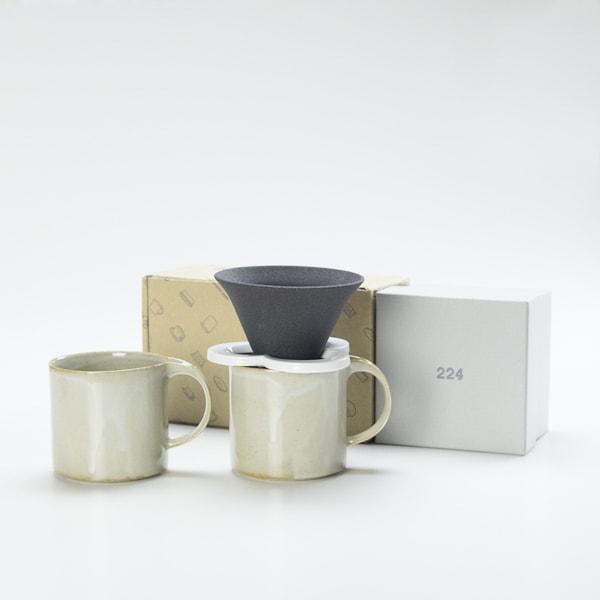 【セット】コーヒー道具 Caffe hat white &マグカップ/モデラート マグ グレー ペアセット