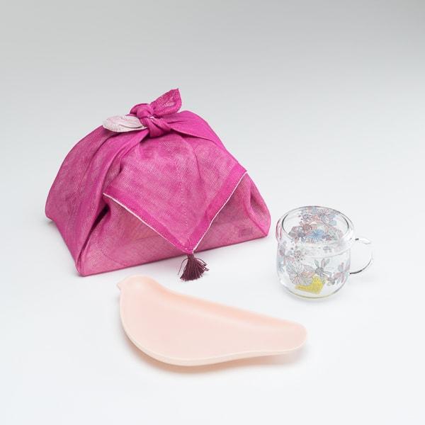【セット】朗らかおうちカフェセット 布巾包/ピンク/マグカップ ケーキ皿