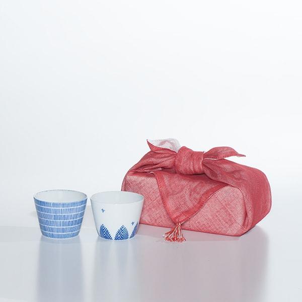 【セット】印判そば猪口 鳥と木と雨 ペアセット(化粧箱入り) 布巾包/東屋