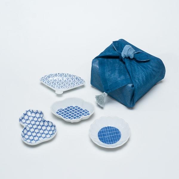 【セット】印判豆皿 4枚組モチーフ(化粧箱入) 青はんかち包/東屋