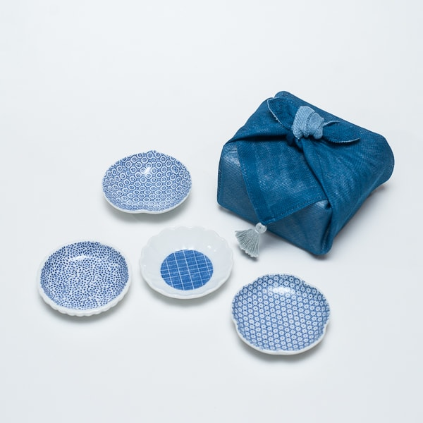 【セット】印判豆皿 4枚組丸型(化粧箱入) はんかち包/東屋