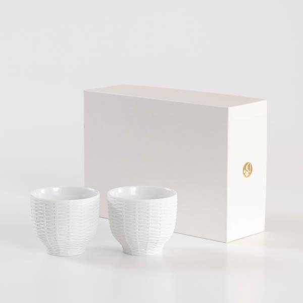 【セット】トレースフェース ラタン ホワイト ペアカップ化粧箱入/ セメントプロデュースデザイン