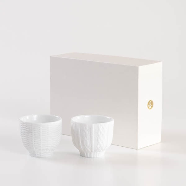 【セット】トレースフェース ニット&ラタン ホワイト ペアカップ化粧箱入/ セメントプロデュースデザイン