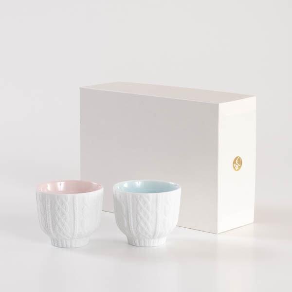 【セット】トレースフェース ニット 桃&空 ペアカップ化粧箱入/ セメントプロデュースデザイン