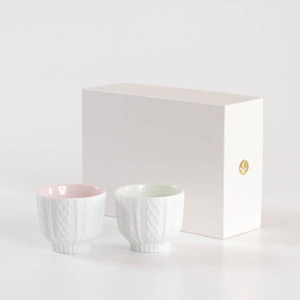 【セット】トレースフェース ニット 桃&若草 ペアカップ化粧箱入/ セメントプロデュースデザイン