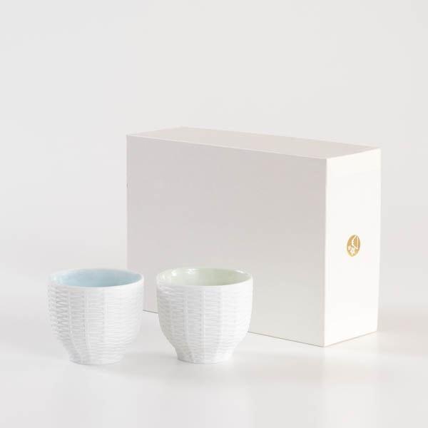 【セット】トレースフェース ラタン 若草&空 ペアカップ化粧箱入/ セメントプロデュースデザイン