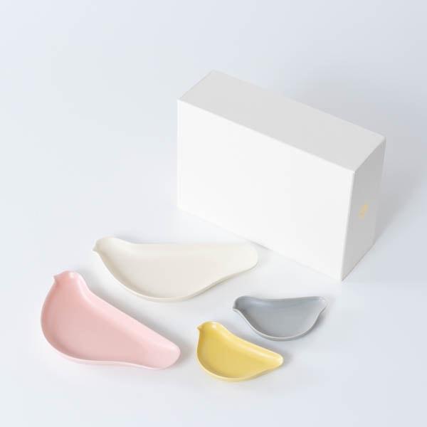 【セット】TORIZARA & KOTORIZARA 紅白とひよこの4羽セット 化粧箱入/ 取皿 豆皿/ Floyd