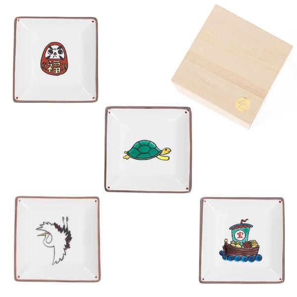 【セット】寿小皿 ご長寿4点セット 桐箱入/豆皿/九谷焼 双鳩窯