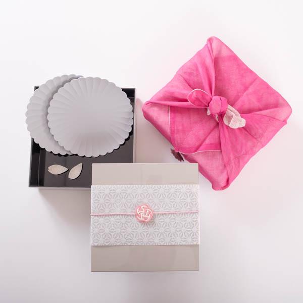 【玉手箱セット】お花見お食事ペア 一段重(大) ピンクの布巾包