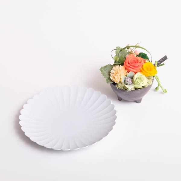 【セット】お花とパレスプレート オレンジ 化粧箱入/フラワーギフト