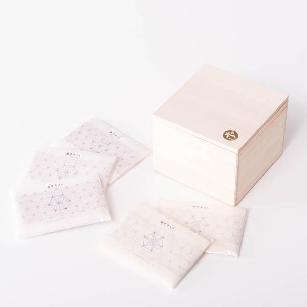 【セット】組子キット 麻の葉3個&りんどう2個のセット 桐箱入/山川建具