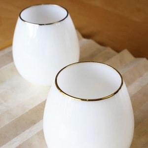 グラス/花蕾 Karai 北海道ミルク 乳白色 金/廣田硝子_Image_2
