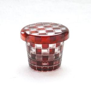 ガラス食器/蓋ちょこ 江戸切子 市松 赤/廣田硝子