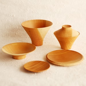 TSUMUGI/ Ichiju-Sansai bowl/ Set of wooden bowls and plates/ Plain/  Gato Mikio Store