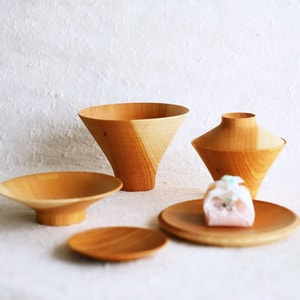 TSUMUGI / Ichiju-Sansai bowl / Set of wooden bowls and plates / Plain / Gato Mikio Store_Image_1