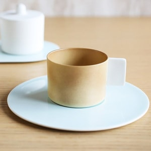 Coffee Cup & Saucer / Light Brown × White Blue / S&B Series / 1616 arita japan_Image_1