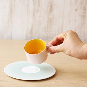 Coffee Cup & Saucer/ Pink Yellow ×Light blue/ S&B Series/ 1616 arita japan_Image_1