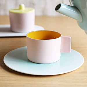 Coffee Cup & Saucer/ Pink Yellow ×Light blue/ S&B Series/ 1616 arita japan_Image_2
